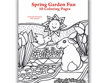 Ready to Print and Color Spring Garden Fun Color Sheets LLMartin Instant Dowload Adults and Children