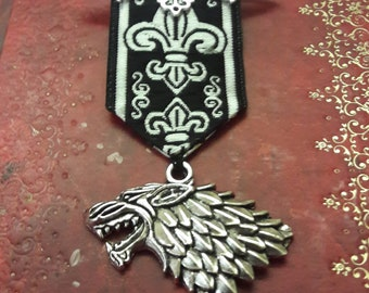 Steampunk Gothic Medal Brooch Silver Bat and Wolf Brocade Ribbon