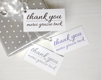 Thank you tags many languages printable gift tags instant download merci grazie tack tags