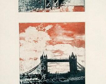 photo etching of London Bridge, color