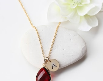 Garnet Gold Necklace - January Birthstone Necklace  - Personalized Personalised Initial Jewellery Jewelry - Garnet Quartz Necklace -  B75