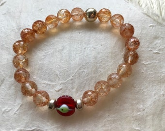 Faceted Citrine and Red Eye Bead Bracelet