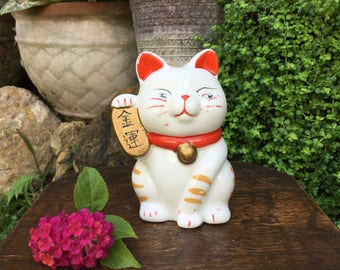 Small Japanese Porcelain Figurine 招き猫 Maneki Neko Beckoning Cat Good Luck Charm Coin Bank Okimono