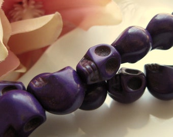 CLEARANCE SALE 25% OFF Purple Dyed Magnesite Skulls 13mm by 10mm 4 pcs (2 pairs)