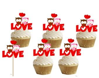 VALENTINE'SDAY LOVE cupcake/cakepop toppers 24pcs