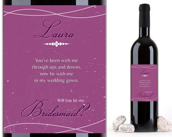 Custom Bridesmaid Proposal Wine Labels, Personalized Wine Bottle Label, Bridesmaid Gift Wine Labels, Maid of Honor Wine Label