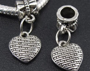 Antiqued Silver Heart, Large Hole Dangle Bead fits European Style Charm Bracelets & Necklaces, Big Hole Heart Charm Bead, Gift For Her