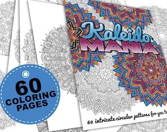 60 mandala coloring pages - Kaleidomania: Printable Coloring Book PDF / Adult coloring book, grown-up coloring book, adult coloring pages,