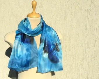 Blue Butterflies Silk Scarf - hand painted silk scarf - azure, turquoise