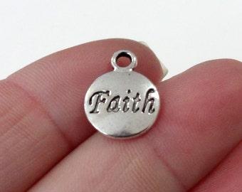 """10 """"Faith"""" Charms 15x12x2mm, Hole: 2mm"""