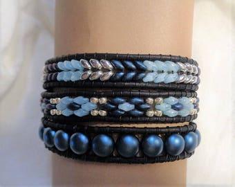 Triple Wrap Leather Beaded  Bracelet, Blues , Silver and Black