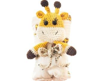 Crochet Giraffe Lovey/ Muslin Blanket