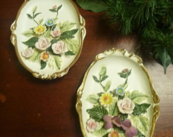2 Lefton Wall Plaques With Applied Flowers   (T)