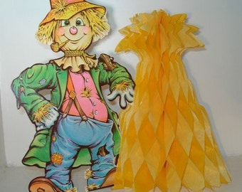 Vintage Beistle Honeycomb Scarecrow, Tissue Paper, Party Centerpiece Decoration, Haystack, Fall Home Decor, 1979