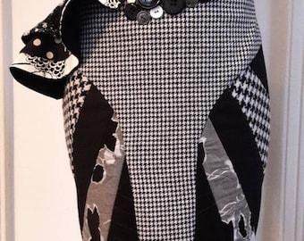 Black & white patchwork rok -unique designer clothing