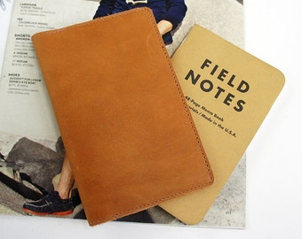 Field Notes Leather Cover - Tan - Customizable - Free Personalization