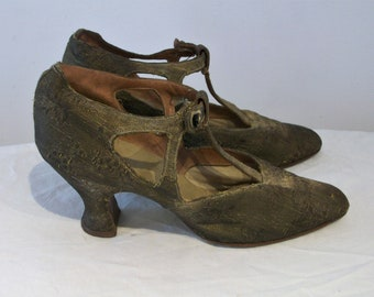 Characterful 1920s metallic brocade evening mary janes w/cutouts US 5 / UK 3