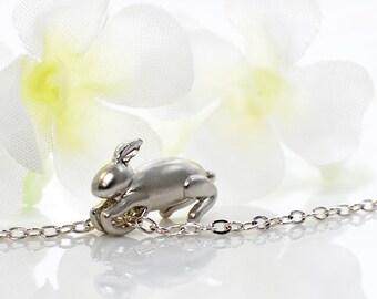 Bunny Pendant Rabbit Jewelry Necklace Teeny - Rabbit Pendant - Bunny Jewelry - Pet Bunny Rabbit - Woodland Animal - Bunny Necklace - Nature