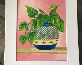 Green Plant in Snazzy Blue Pot