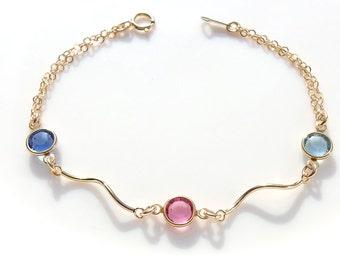 Personalized bracelet, Birthstone bracelet, August birthstone, Swarovski birthstone bracelet, Bridesmaid bracelet, Bridesmaid jewelry,