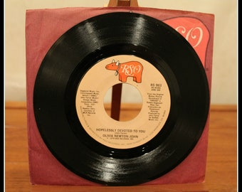Vintage Olivia Newton-John 45 RPM Record, Hopelessly Devoted To You, RSO Records, 1970s Soft Rock, Classic Vinyl, 1980s Soft Rock, Grease