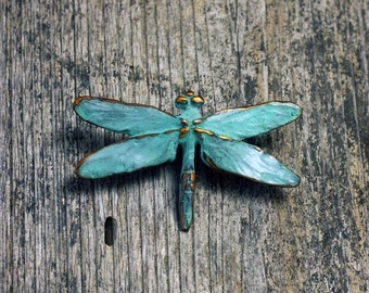 Dragonfly Brooch in copper with blue green patina