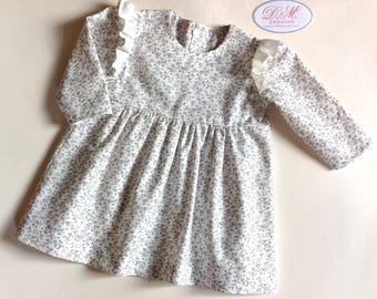 Dress baby girl long sleeve ruffled shoulders, liberty grey and ecru