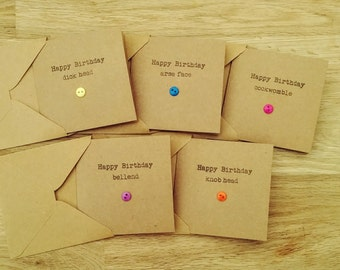 Birthday card pack etsy pack of 5 rude funny birthday cards handmade hand stamped with wonderfully sweary insults bookmarktalkfo Images