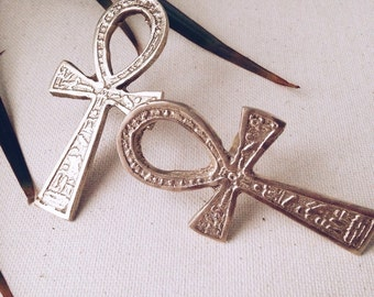 Major Key Ankh Ring // Key of Life, Gold Ankh Ring, Ancient Egyptian Jewelry, Ethnic Jewelry, Brass Jewelry, Statement Ring, Afrocentric