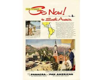 1950 Ad Print - Pan American World Airways Airline Panagra Santiago Copacabana Beach