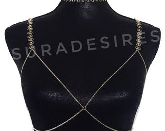 Kylie Chain Bra, Lace Chain Choker, Lace Chain Bra, Choker Necklace, Bra Chain, choker and bra, Bikini Jewelry, Beach jewelry | Suradesires