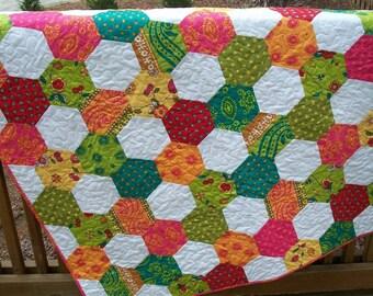 Lap Quilt Geometric Quilt Hexagon Quilt SALE 40% OFF - 45x63