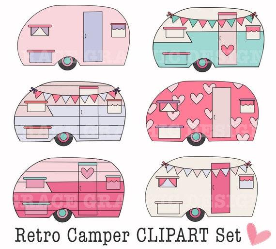 Retro Camper Clipart Clipart Camping Clipart DIY Digital