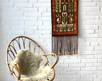 Vintage wall hanger, tapestry tapestries, wall decoration, weaving, loom, Vintageinterior, home decoration
