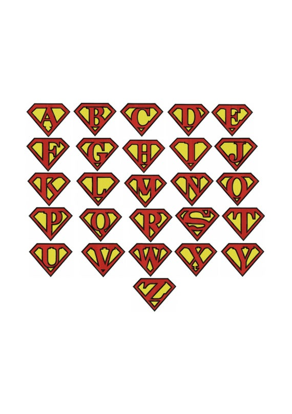 Superman Alphabet Pattern Fill Machine Embroidery Design No 965 Letters Template