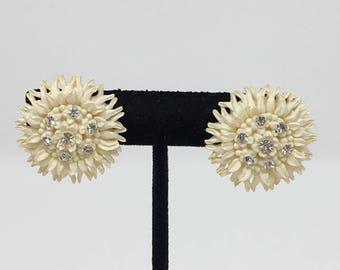 "Vintage Celluloid Rhinestone Made in Japan Screwback Earrings Cream Over 1"""