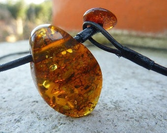 Amber Necklace .Brown Cognac Amber Pendant .Handmade Amber Necklace.Organic gift for her for him .Bohemian Amber Pendant.Baltic Amber