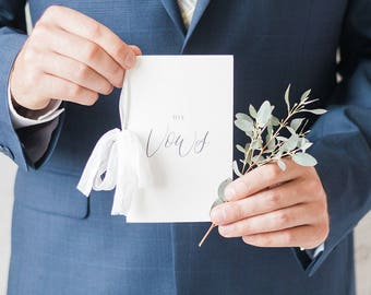 Vow Books Set of 2 //calligraphy vow book // personalized vow books // his and hers vow books // wedding vow book // wedding accessories