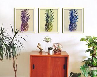 Set of 3 Prints, Pineapple Wall Art, Tropical Fruit Print, Food Art, Botanical Print Set, Modern Minimalist Art, Retro Kitchen Wall Art