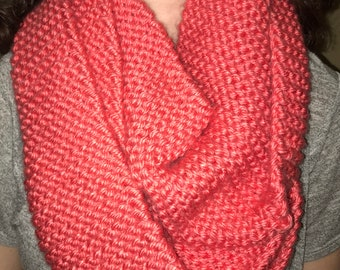 Coral hand knit infinity scarf