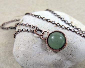 Green Aventurine Pendant, Heart Chakra, Dainty Sterling Silver, Wire Wrapped Copper, Dainty Gemstone Necklace, Prosperity Pendant