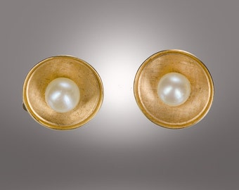 14k and pearl clip earrings mid century modern design