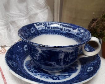 Stunning oversized  blue and white large size vintage cup and saucer having handwritten message around rim