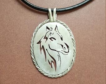 Sterling silver Horse Pendant.  Reversable