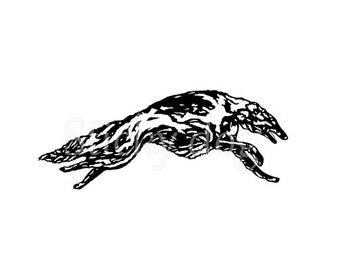 Borzoi running sticker
