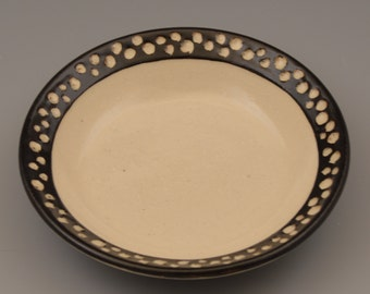 Graphic Black and White Small Dish / Bowl with Sgraffito Dot Rim