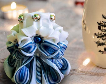 Christmas Candle Set - Small Carved Candles - Candle White Silver Blue - Christmas Candle