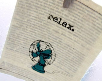 "Screen print / Linocut print - 5"" x 7"" Relax Fan Fabric Print - Teal Blue"
