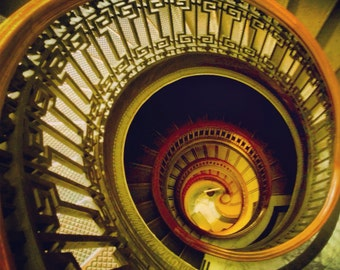 "Spiral Stairs Gold lines pattern 8x8"" photo San Francisco perspective architecture"