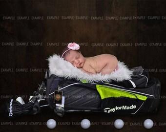 2 digital golf props, golg  digital background, newborn boy or girl